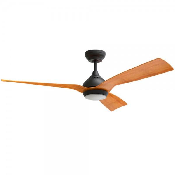Ventilador de techo DC con luz Serie Waterwind Negro - Madera