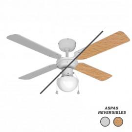 Ventilador de techo con luz Blanco Caribe blanco/haya