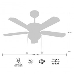 Ventilador de techo con luz Serie Heracles Cuero/ Cerezo o Nogal
