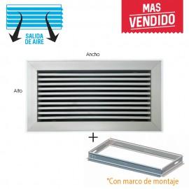 Rejilla lineal inclinación 0º plata para aire acondicionado + marco de montaje