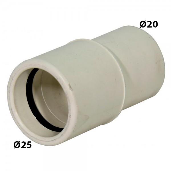 Reducción Ø25 a Ø20 blanco para desagüe