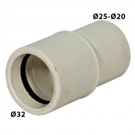 Reducción Ø32 a Ø25-Ø20 blanco para desagüe