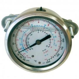 Manómetro de alta presión con puente de montaje y diámetro Ø63