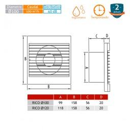 Extractor de baños Rico 100 con temporizador e higrómetro