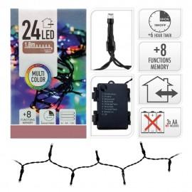Guirnalda a pilas 24 led multicolor IP44 multifunción