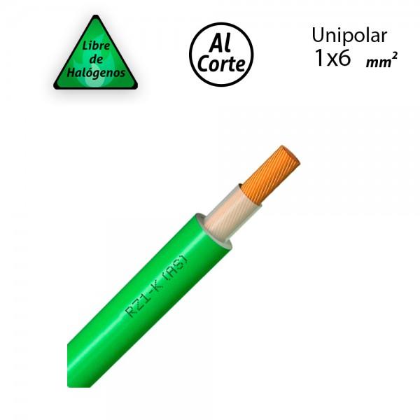 Cable unipolar 1x6 libre de halogenos RZ1-K 0,6/1kV