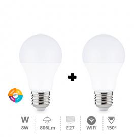 Pack 2 bombillas wifi con RGB y blancos E27
