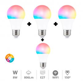 Pack 4 bombillas wifi con RGB y blancos E27