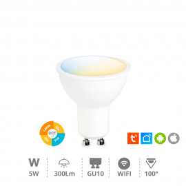 Bombilla led dicroica inteligente 5W GU10 regulable