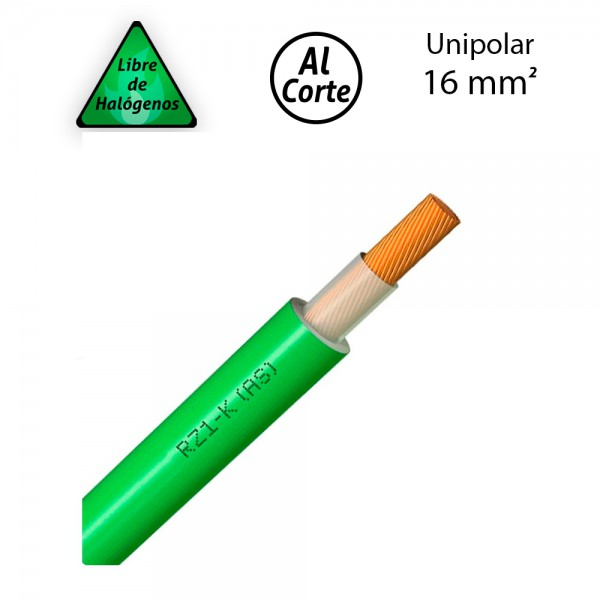 Cable unipolar 1x16 libre de halógenos RZ1-K 0,6/1kV