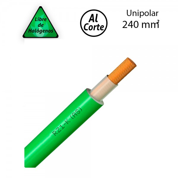 Cable unipolar 1x240 libre de halógenos RZ1-K 0,6/1kV