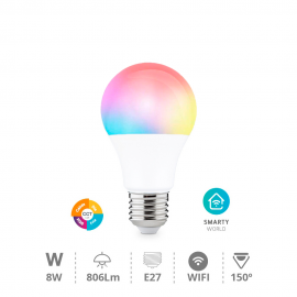 Bombilla inteligente 8W E27 RGB y regulable