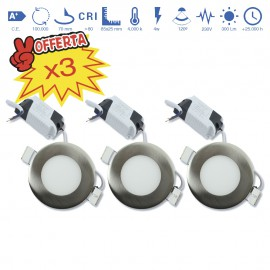 Pack 3 Downlight led empotrable con driver
