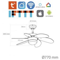 Ventilador de techo wifi con luz Brochina