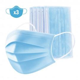 Pack x3 mascarillas de protección triple capa desechables