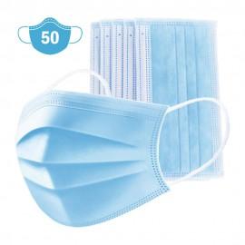 Pack 50 mascarillas de protección triple capa desechables