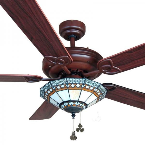 Ventilador de techo con luz serie Dallas color pinonogal
