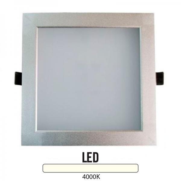 Downlight Cuadrado Aluminio 25W Plata