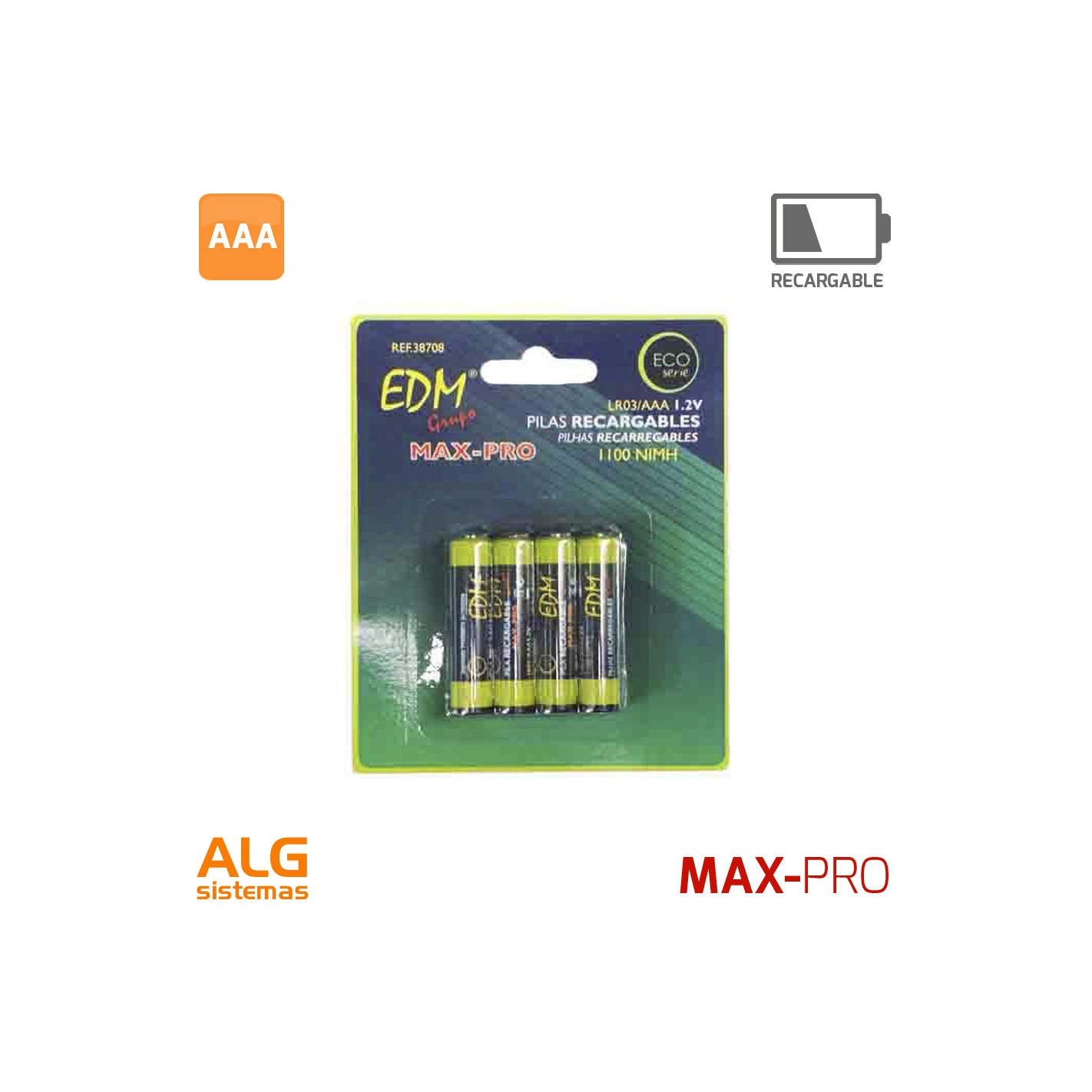 Extractor De Baño Pilas: > Pilas y baterias > Blister 4 pilas R-03 de 1100 Mah recargables