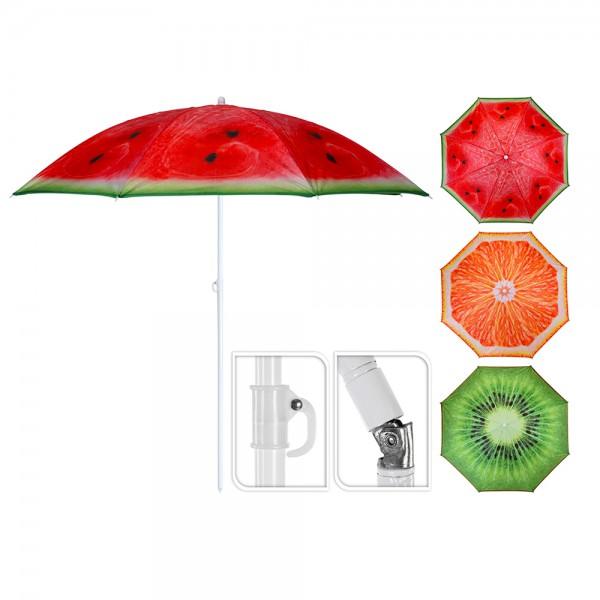 *ult.unidades*  sombrilla de playa ø176cm diseño frutas varios con funda
