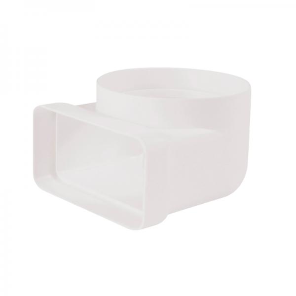 Codo de 90° rectangular/circular blanco