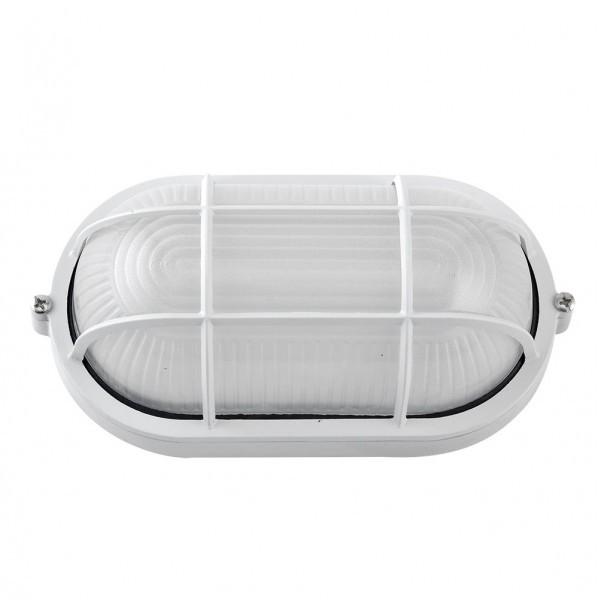 Aplique Ext.oval Aluminio Apus Grande 1xe27 Blanco 11,5x27,5x15,5 Cm  Ip44