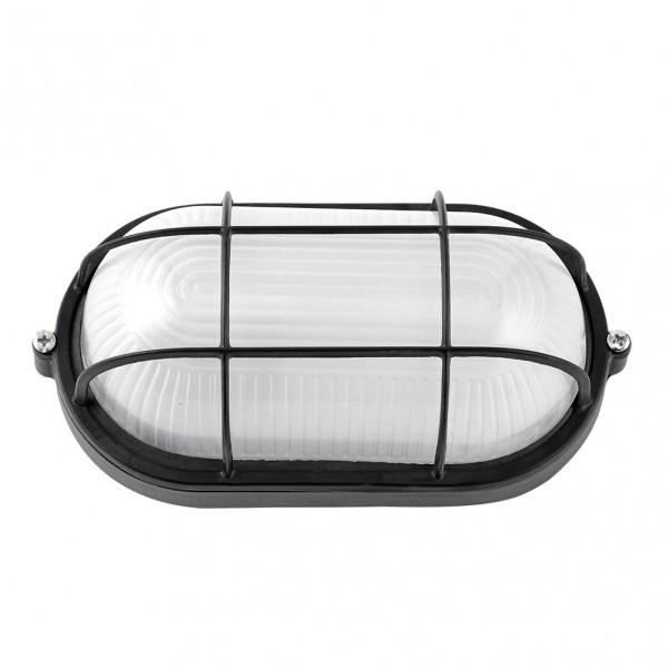Aplique Ext.oval Aluminio Apus Grande 1xe27 Negro 11,5x27,5x15,5 Cm  Ip44