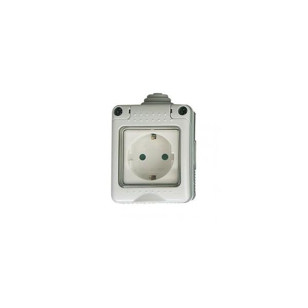 Iluminacion Estanca Baño: > Superficie modular > Caja estanca 2 modulos con base schuko IP 65