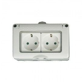 Caja estanca 4 modulos con 2 bases schuko IP 65