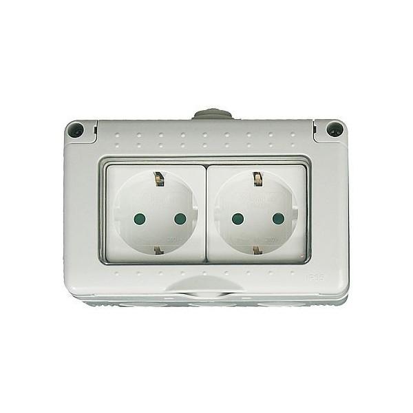 Iluminacion Estanca Baño: Superficie modular > Caja estanca 4 modulos con 2 bases schuko IP 65