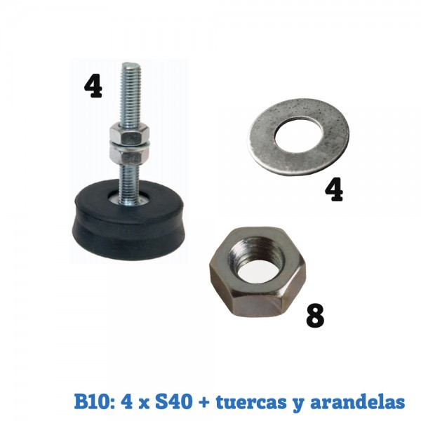 Bolsas de montaje splits Suelo 4xS40 + tuercas y arandelas