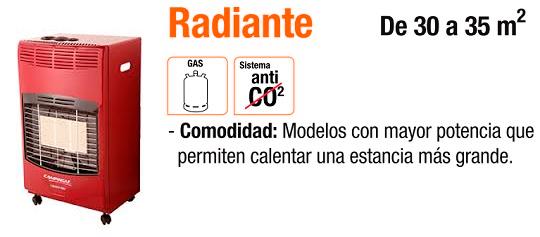 Estufa de gas radiante